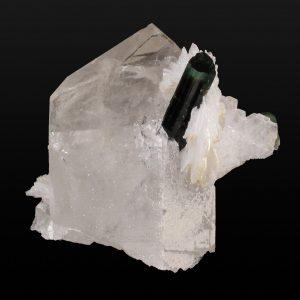 Elbaite Tourmaline on Quartz with Albite